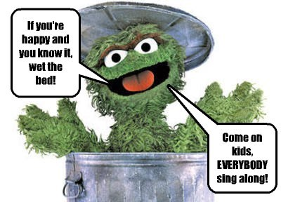 Oscar The Grouch LOVES causing trouble.