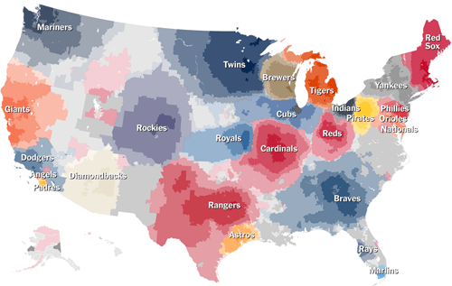 An Interactive Map of Baseball Fanbases by ZIP Code