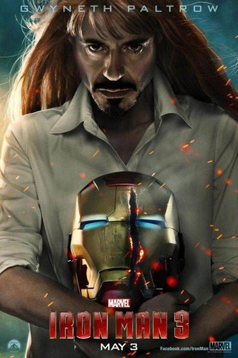 movie poster,funny,iron man 3,gwyneth paltrow,robert downey jr