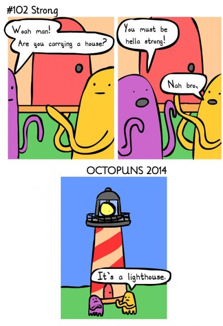 lighthouse,puns,octopus