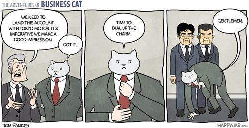 Business Cat Has to Impress Foreign Clients