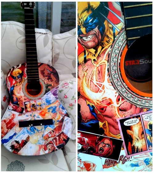 Shred Riffs Using Admantium Claws With This Wolverine Decoupaged Guitar
