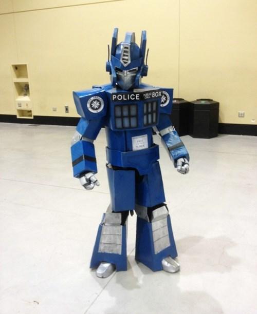 transformers,cosplay,tardis,nerdgasm,doctor who,optimus prime