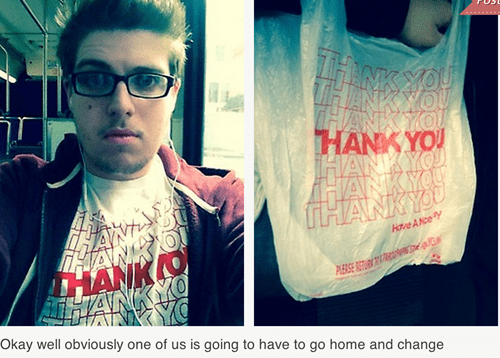 t shirts,poorly dressed,plastic bag,thank you