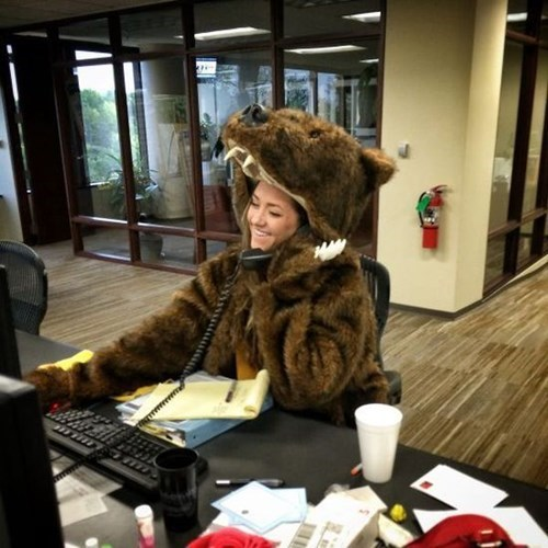 costume,bear,coworkers,puns,monday thru friday,work