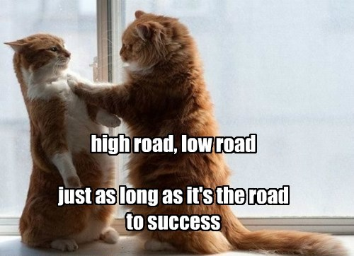 high road, low road  just as long as it's the road to success