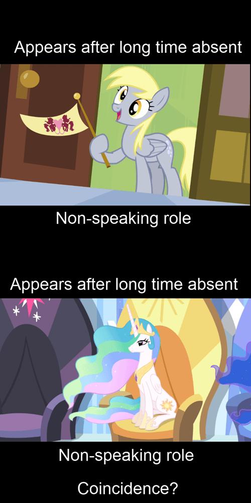 derpy hooves,princess celestia,coincidence?
