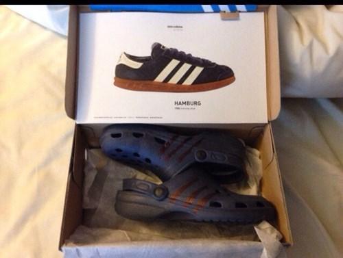 shoes,poorly dressed,Close Enough,crocs,adidas