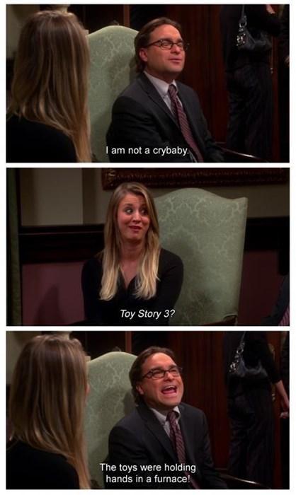 big bang theory,movies,toy story 3,crying