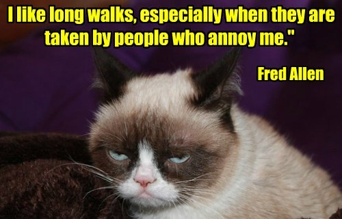 I like long walks, especially when they are taken by people who annoy me.""