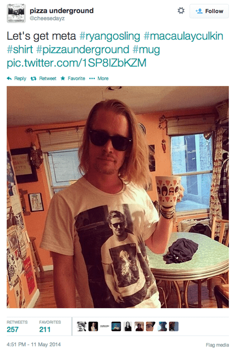 Macaulay Culkin Wearing a Shirt of Ryan Gosling Wearing a Shirt of Macaulay Culkin