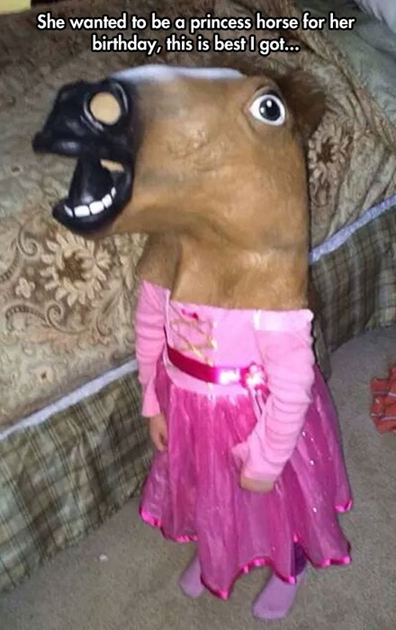 costume,birthday,kids,horse mask,parenting,princess,g rated