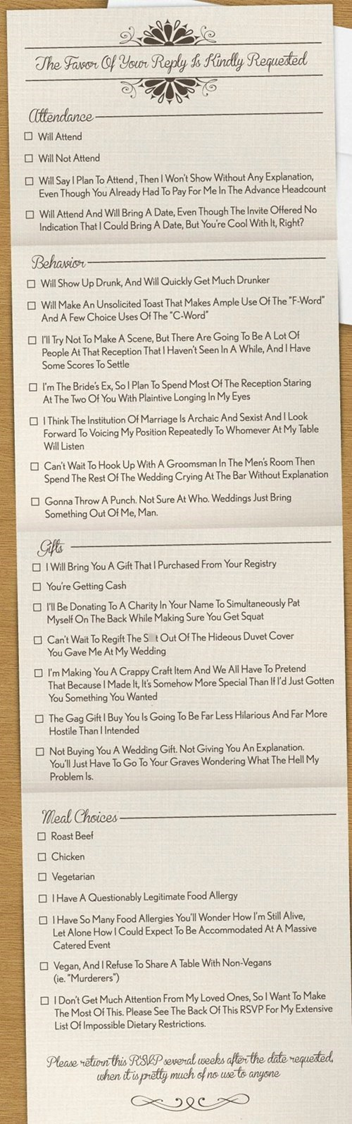 The Most Honest Wedding Invitation Ever