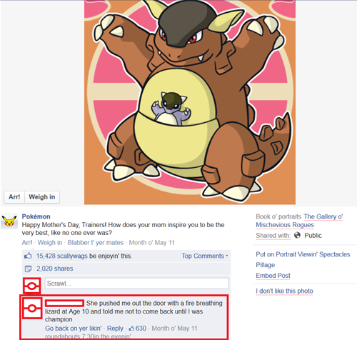 kangaskhan,Pokémon,mothers day,facebook