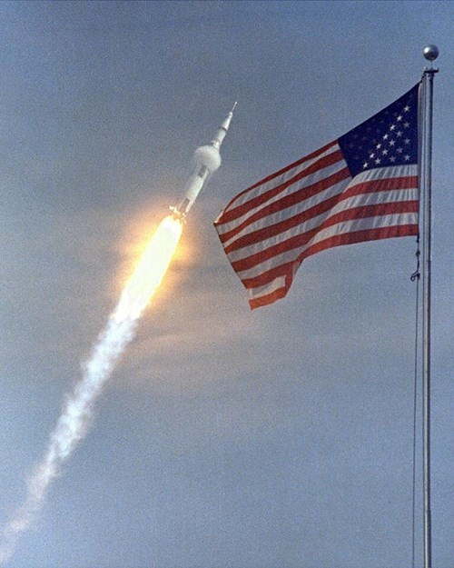 Apollo 11 on Its Way to the Moon in 1969