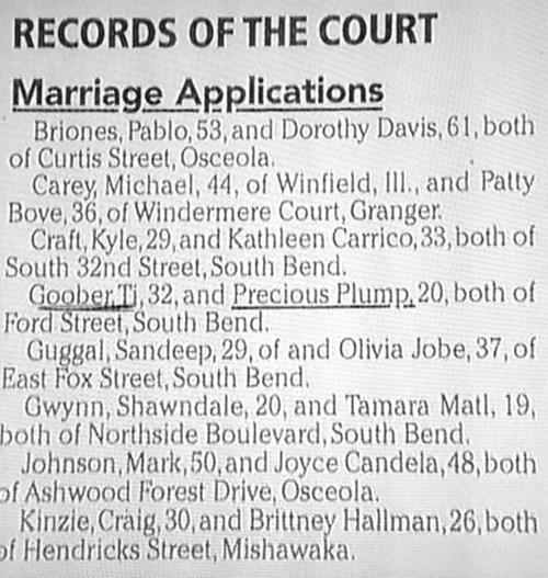 marriage,names,newspaper
