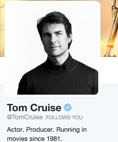 Tom Cruise Updates His Twitter Profile With the Perfect Sentence