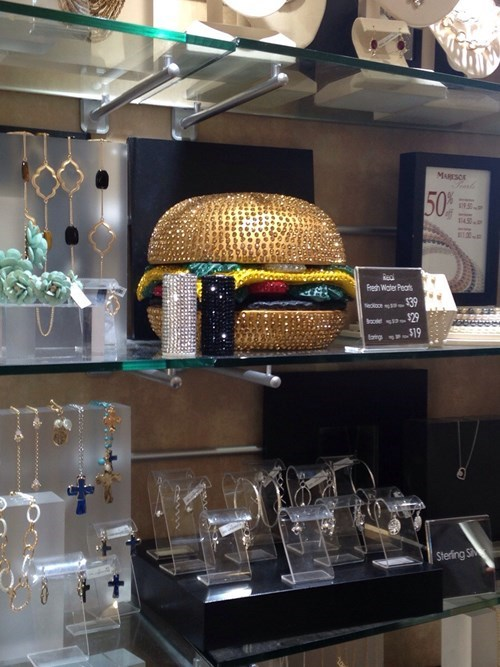 cheezburger,purse,poorly dressed,cheeseburger,bedazzled