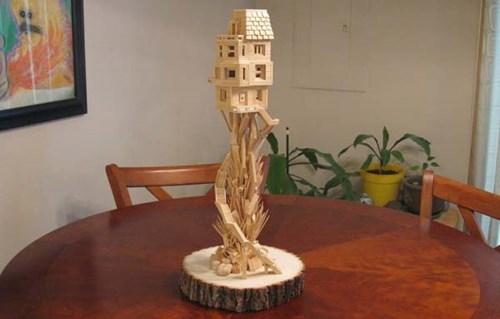 tree house,art,toothpick,design
