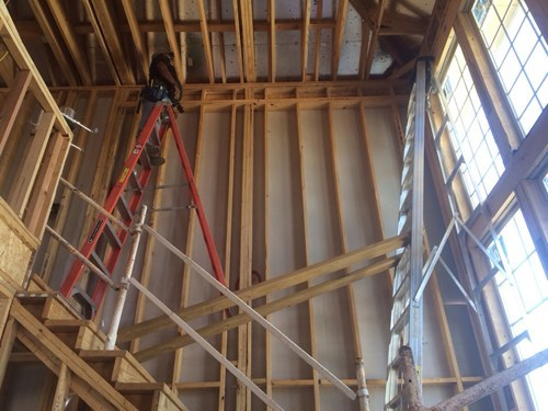 ladder,bad idea,accident waiting to happen,dangerous