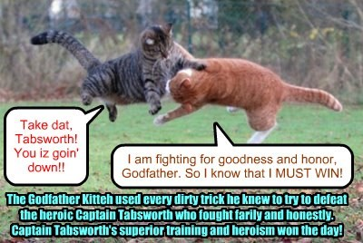 The epic Battle of Feral Island came to a grand conclusion after Commander Rufus Tabsworth flushed the evil Godfather Kitteh out of his lair and into the open..