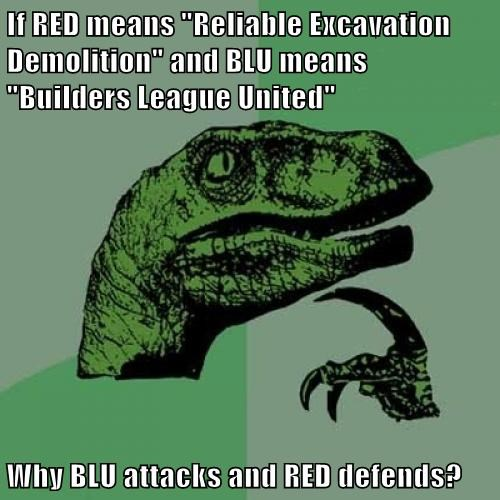 "If RED means ""Reliable Excavation Demolition"" and BLU means ""Builders League United""  Why BLU attacks and RED defends?"