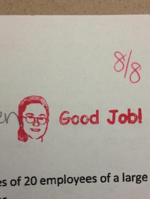 Get a Perfect Score? Here's a Stamp With of Your Teacher's Face!