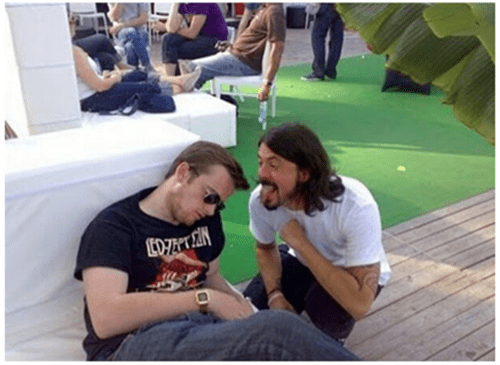 drunk,Dave Grohl,funny,passed out,wtf,john paul jones,after 12,g rated