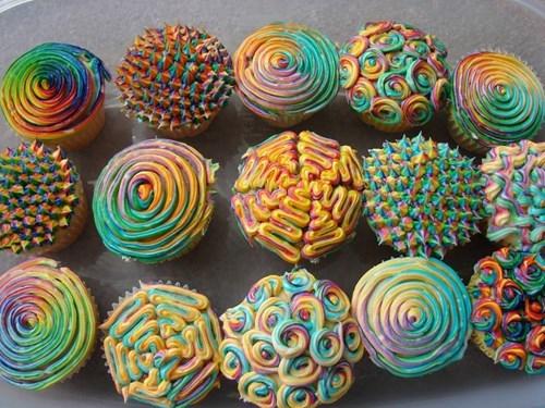 cupcakes,dessert,pretty colors,mind blown
