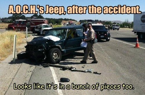 An Old Cowhand's jeep after his accident. Reported by the Paso Robles Daily News http://pasoroblesdailynews.com/jeeps-collide-two-injured-major-highway-101-accident/21196/