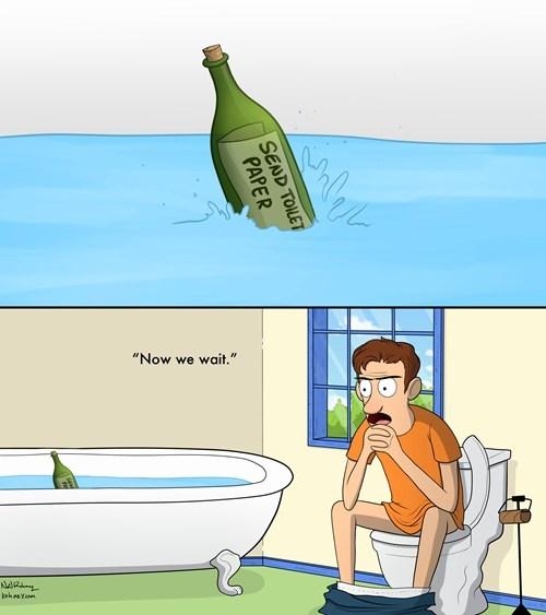 Message In A Bottle,toilet paper,web comics