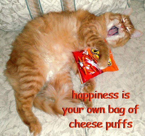 happiness is  your own bag of  cheese puffs