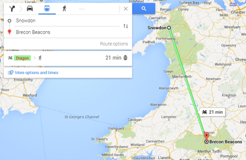 Google Maps Gets All Nerdy and Lets You Plan a Trip by Dragon