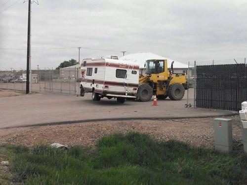 trailer park,trailers,construction equipment