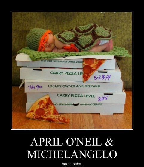 baby,TMNT,april-oneil,michelangelo,funny
