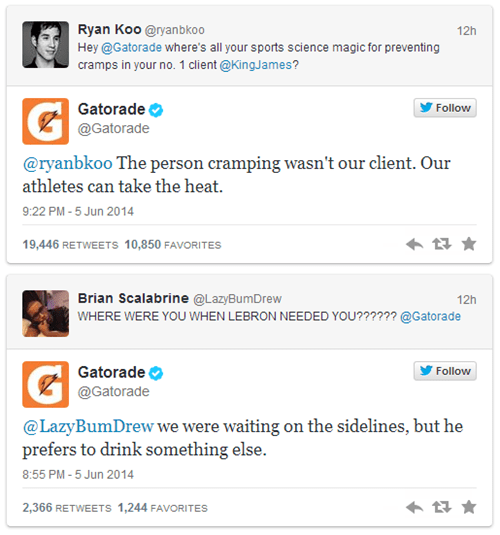 When Lebron James Sits Out a Game Due to a Leg Cramp, Gatorade Knows Just How to Rub it in