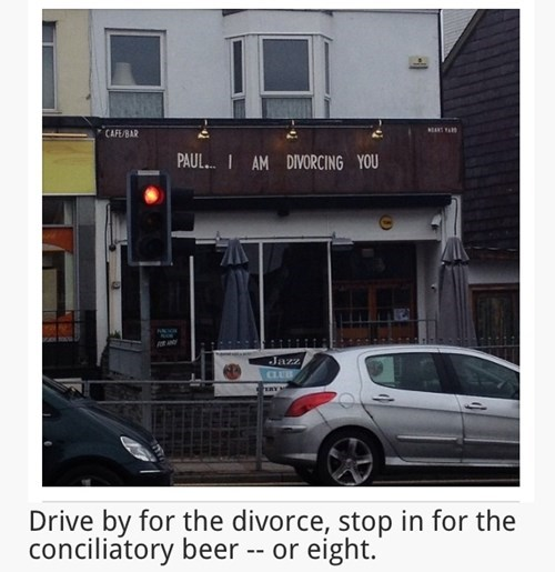 Announce Your Divorce on a Bar Sign