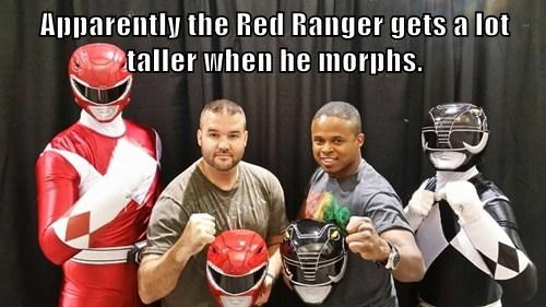 Apparently the Red Ranger gets a lot taller when he morphs.