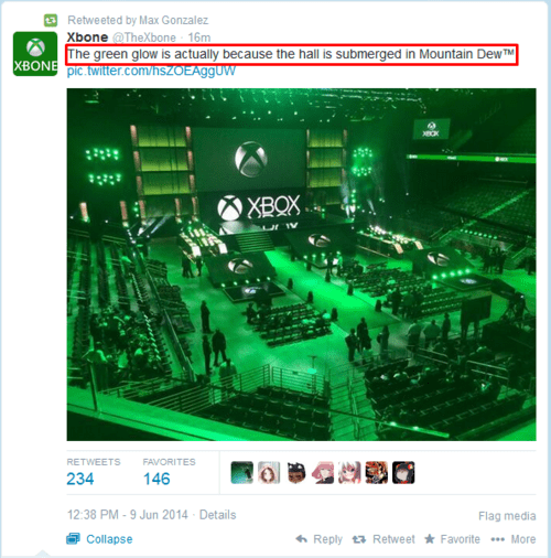 mountain dew,microsoft,xbox one,E32014