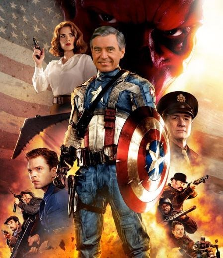 mr rogers,captain america,funny