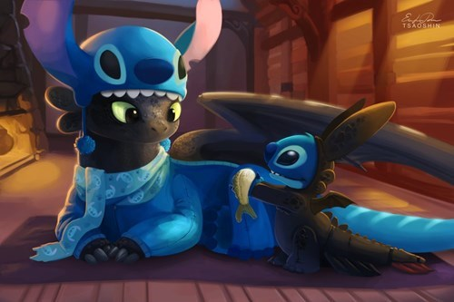 crossover,fan art,lilo and stitch,cartoons,How to train your dragon