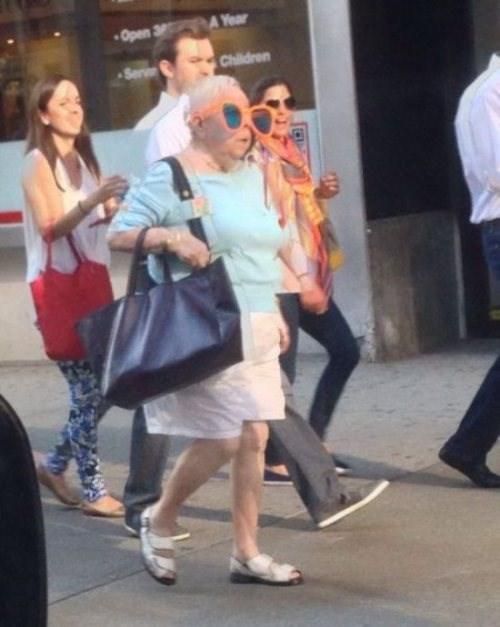 sunglasses,poorly dressed,oversized,grandma
