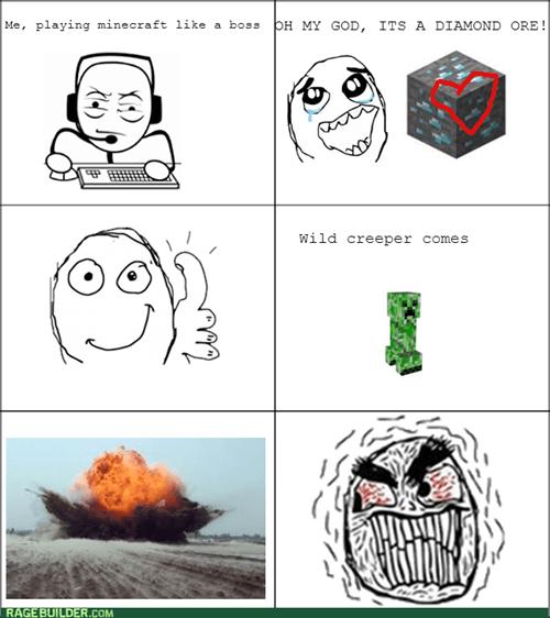 rage,creeper,minecraft,diamond