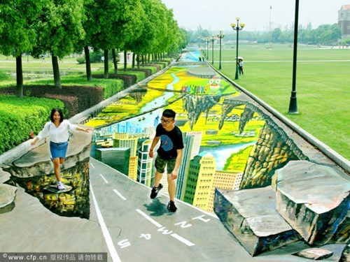 chalk art,perspective,Street Art,hacked irl