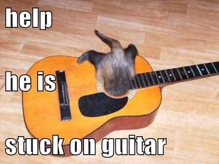 help he is  stuck on guitar