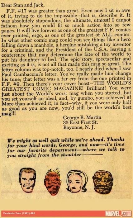 Teenage George RR Martin Was a Huge Comic Nerd