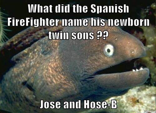 What did the Spanish FireFighter name his newborn twin sons ??  Jose and Hose-B