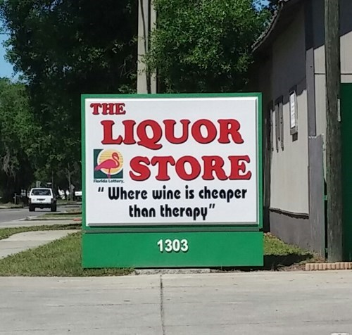 cheap,funny,liquor store,sign,wine,therapy