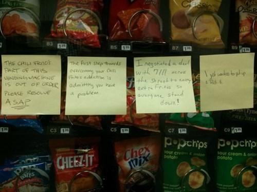 break room,post it,fritos,monday thru friday,snack,vending machine
