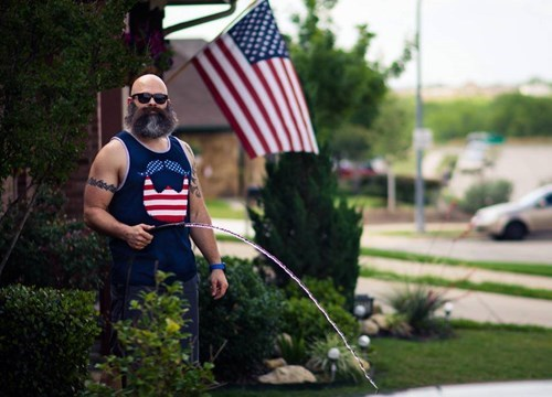 patriotic,beard,American Flag,facial hair,poorly dressed,win,fourth of july